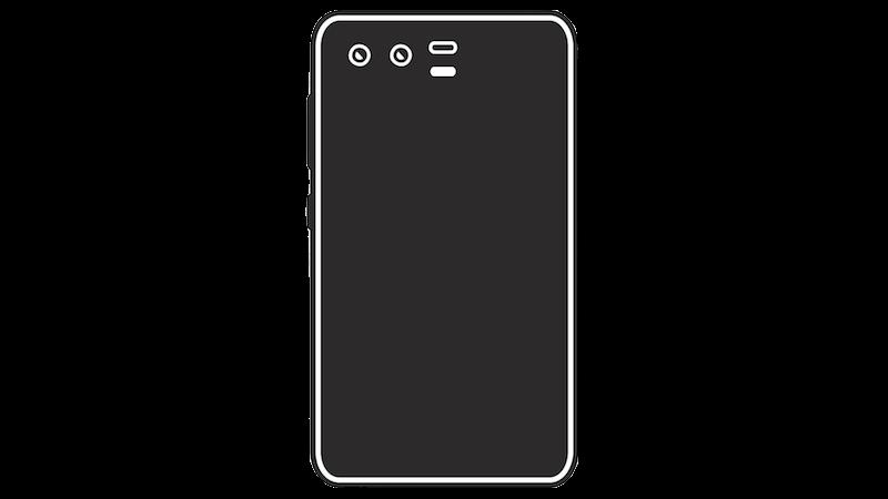 横並びデュアルカメラのスマートフォンシルエットのフリー素材(ブラック)