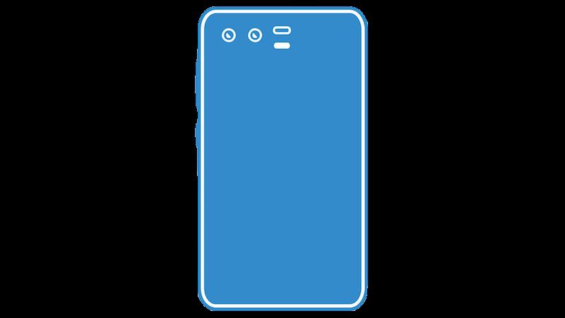 横並びデュアルカメラのスマートフォンシルエットのフリー素材(ブルー)