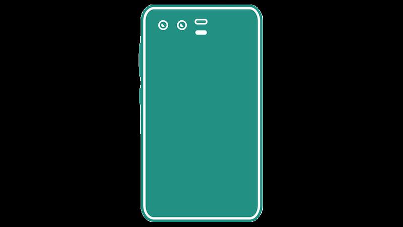 横並びデュアルカメラのスマートフォンシルエットのフリー素材(グリーン)