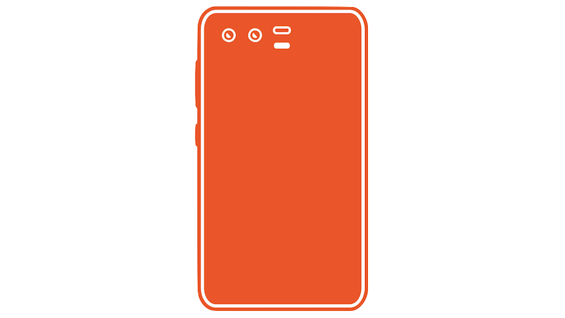 横並びデュアルカメラのスマートフォンシルエットのフリー素材(オレンジ)
