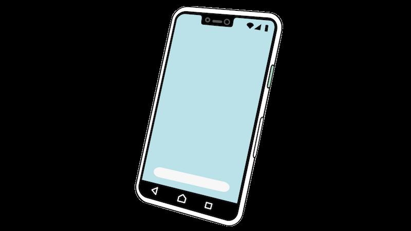 アンドロイド風スマートフォンの無料イラスト