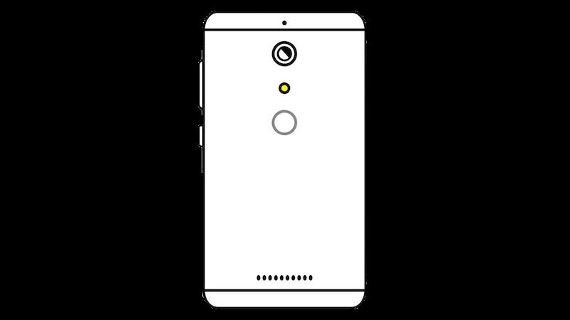 指紋認証付きシングルカメラのスマートフォンのフリー素材(正対)