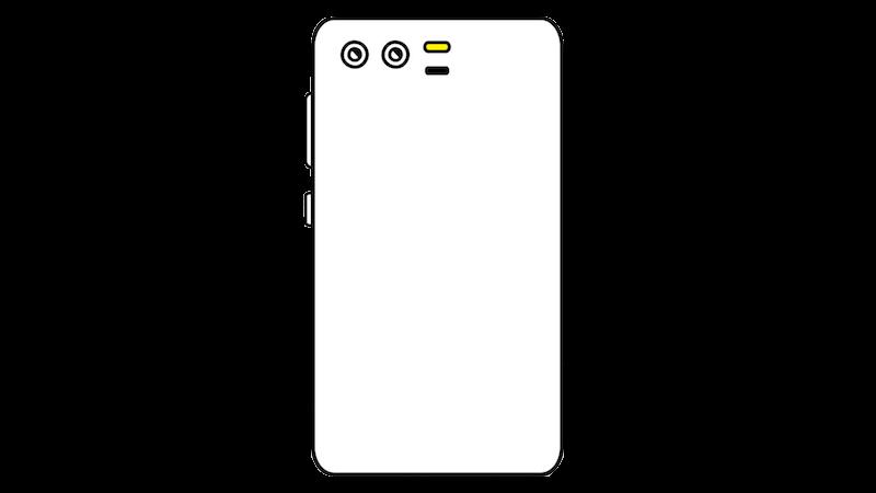 横並びデュアルカメラのスマートフォンのフリー素材(正対)