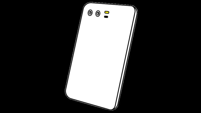 横並びデュアルカメラのスマートフォンのフリー素材(斜め向き)