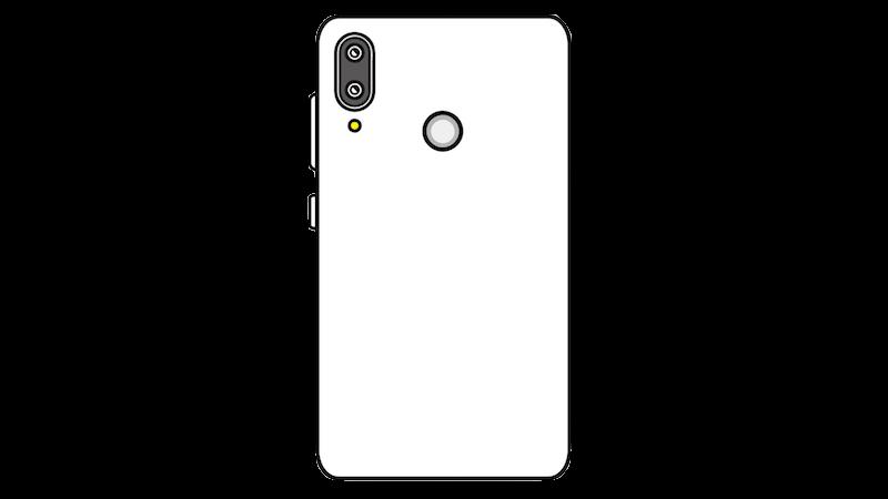 縦並びデュアルカメラの指紋認証付きスマートフォンのフリー素材(正対)