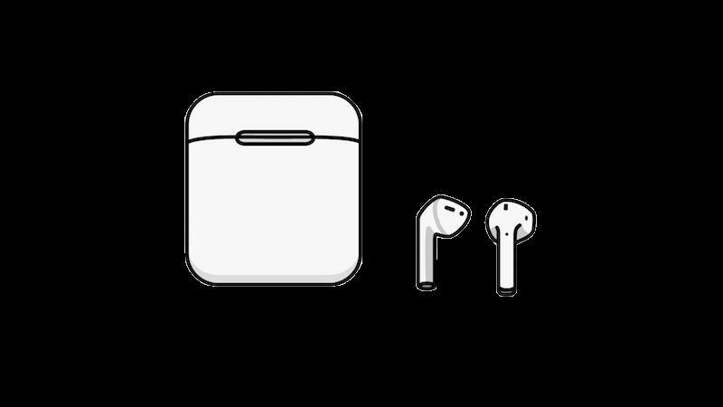 ワイヤレスイヤホンのケースと本体の無料イラスト