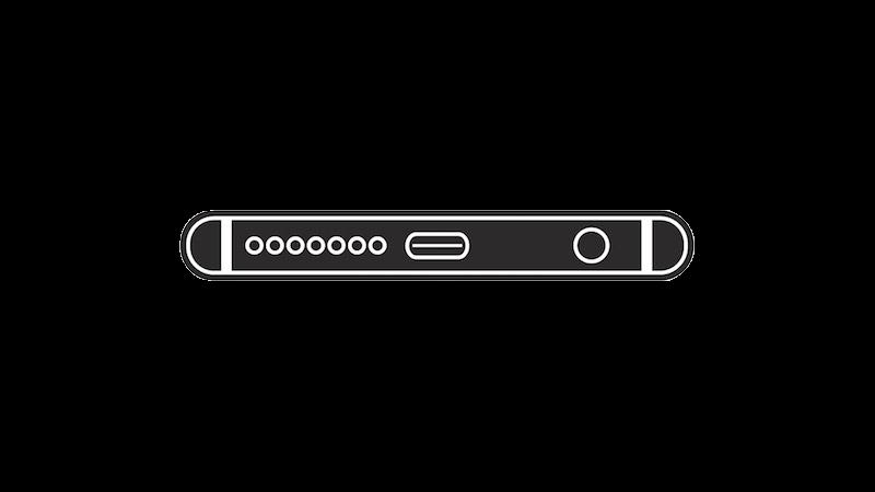 USB-Cの底面シルエット(ブラック)
