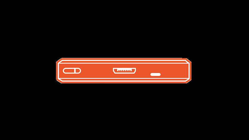 MicroUSBの底面(オレンジ)
