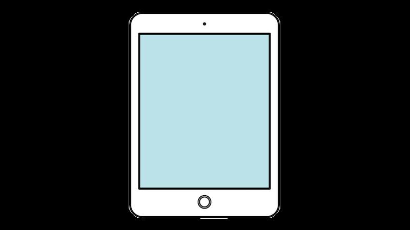 iPad風タブレット(正対)のフリー素材