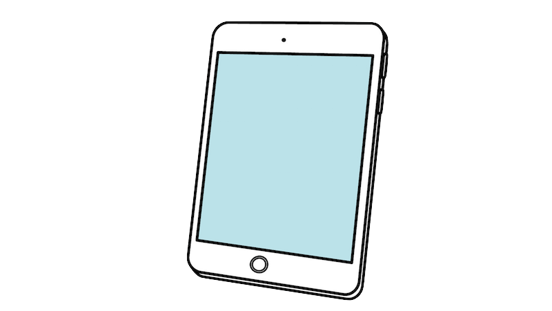 iPad風タブレット(斜め)のフリー素材