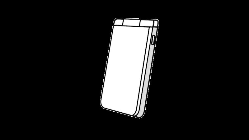白ガラケー(斜め)のフリー素材