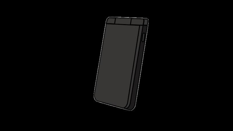 黒いガラケー(斜め)のフリー素材