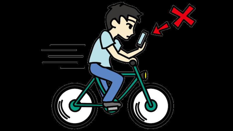 自転車に乗りながらスマホをいじる人のフリー素材